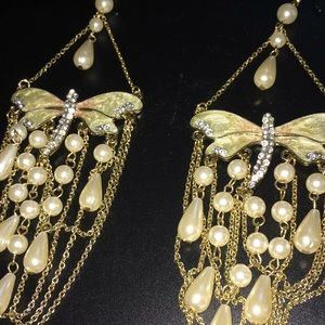 Jewelry - Dangle Pearl Dragonfly Earrings